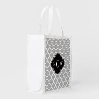 Gray White Moroccan #5 Black 3 Initial Monogram Reusable Grocery Bags