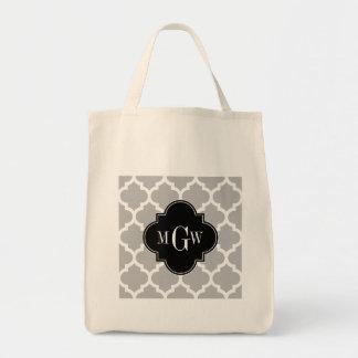Gray White Moroccan #5 Black 3 Initial Monogram Tote Bag