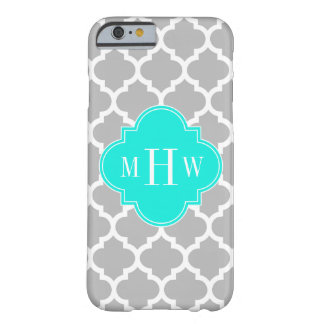 Gray White Moroccan #5 Brt Aqua 3 Initial Monogram Barely There iPhone 6 Case
