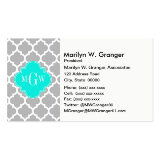 Gray White Moroccan #5 Brt Aqua 3 Initial Monogram Double-Sided Standard Business Cards (Pack Of 100)