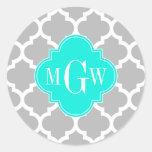 Gray White Moroccan #5 Brt Aqua 3 Initial Monogram Classic Round Sticker