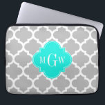 "Gray White Moroccan #5 Brt Aqua 3 Initial Monogram Computer Sleeve<br><div class=""desc"">Gray and White Moroccan Quatrefoil Trellis Pattern #5, Bright Aqua Quatrefoil 3 Initial Monogram Label Customize this with your 3 initial monogram, name or other text. You can also change the font, adjust font sizes and font colors, move the text to adjust letter spacing, etc. If you would like this...</div>"