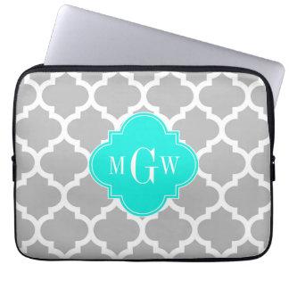 Gray White Moroccan #5 Brt Aqua 3 Initial Monogram Laptop Sleeves