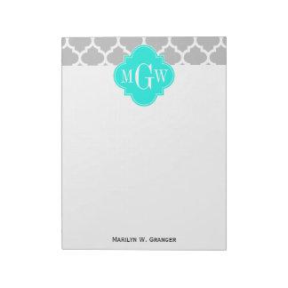 Gray White Moroccan #5 Brt Aqua 3 Initial Monogram Notepad