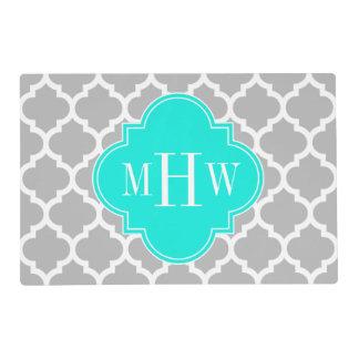 Gray White Moroccan #5 Brt Aqua 3 Initial Monogram Laminated Place Mat