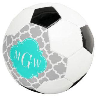 Gray White Moroccan #5 Brt Aqua 3 Initial Monogram Soccer Ball