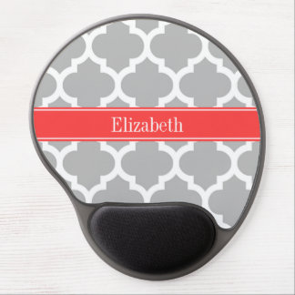 Gray White Moroccan #5 Coral Red Name Monogram Gel Mouse Pad