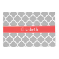 Gray White Moroccan #5 Coral Red Name Monogram Placemat