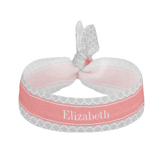 Gray White Moroccan #5 Coral Red Name Monogram Ribbon Hair Tie