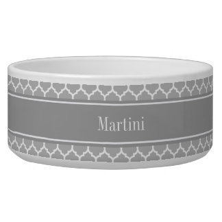 Gray White Moroccan #5 Dark Gray Name Monogram Bowl