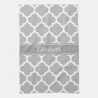 Gray White Moroccan #5 Dark Gray Name Monogram Kitchen Towel