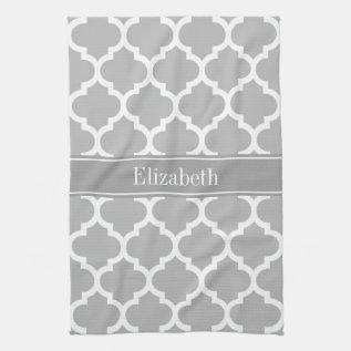 Gray White Moroccan #5 Dark Gray Name Monogram Kitchen Towel at Zazzle