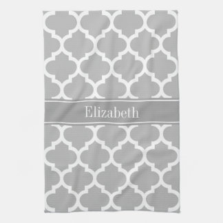 Gray White Moroccan #5 Dark Gray Name Monogram Kitchen Towel