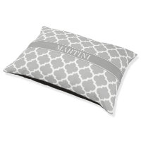 Gray White Moroccan #5 Dark Gray Name Monogram Large Dog Bed