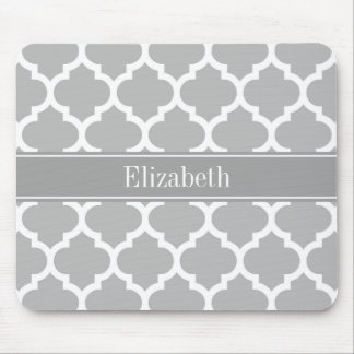 Gray White Moroccan #5 Dark Gray Name Monogram Mousepads