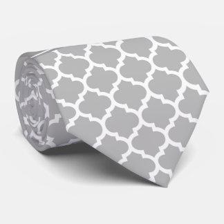 Gray White Moroccan #5 Dark Gray Name Monogram Neck Tie