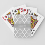 "Gray White Moroccan #5 Dark Gray Name Monogram Playing Cards<br><div class=""desc"">Gray and White Moroccan Quatrefoil Trellis Pattern #5, Dark Gray Ribbon Name Monogram Label Customize this with your name, monogram or other text. You can also change the font, adjust the font size and font color, move the text, add additional text fields, etc. Please note that this is a digitally...</div>"