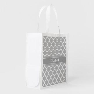 Gray White Moroccan #5 Dark Gray Name Monogram Reusable Grocery Bags