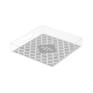 Gray White Moroccan #5 Dk Gray 3 Initial Monogram Acrylic Tray