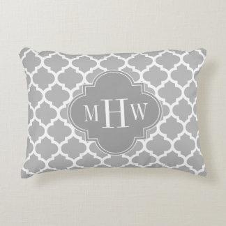 Gray White Moroccan #5 Dk Gray 3 Initial Monogram Decorative Pillow
