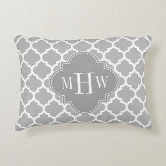 Gray White Moroccan #5 Dk Gray 3 Initial Monogram Decorative Pillow