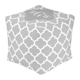 Gray White Moroccan #5 Dk Gray 3 Initial Monogram Cube Pouf
