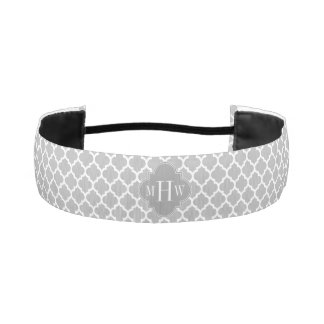 Gray White Moroccan #5 Dk Gray 3 Initial Monogram Athletic Headbands