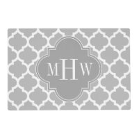 Gray White Moroccan #5 Dk Gray 3 Initial Monogram Placemat