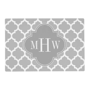 Gray White Moroccan #5 Dk Gray 3 Initial Monogram Placemat at Zazzle