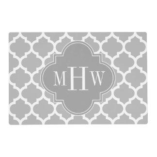 Gray White Moroccan #5 Dk Gray 3 Initial Monogram Placemat