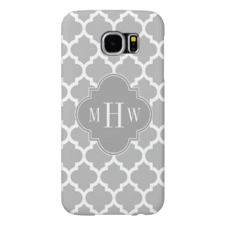 Gray White Moroccan #5 Dk Gray 3 Initial Monogram Samsung Galaxy S6 Case