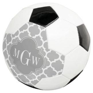 Gray White Moroccan #5 Dk Gray 3 Initial Monogram Soccer Ball