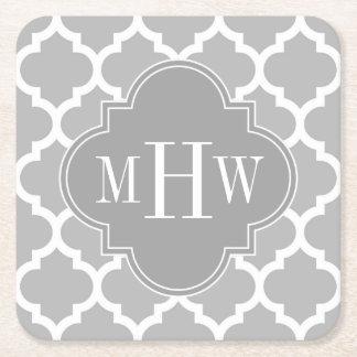 Gray White Moroccan #5 Dk Gray 3 Initial Monogram Square Paper Coaster