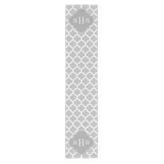 Gray White Moroccan #5 Dk Gray 3 Initial Monogram Short Table Runner