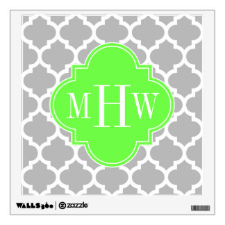 Gray White Moroccan #5 Lime Grn 3 Initial Monogram Wall Sticker
