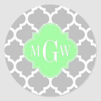 Gray White Moroccan #5 Mint Grn 3 Initial Monogram Classic Round Sticker