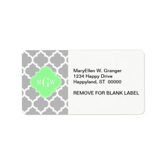 Gray White Moroccan #5 Mint Grn 3 Initial Monogram Labels