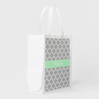 Gray White Moroccan #5 Mint Name Monogram Reusable Grocery Bag