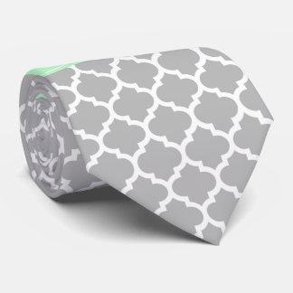 Gray White Moroccan #5 Mint Name Monogram Tie