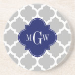 "Gray White Moroccan #5 Navy 3 Initial Monogram Coaster<br><div class=""desc"">Gray and White Moroccan Quatrefoil Trellis Pattern #5, Navy Blue Quatrefoil 3 Initial Monogram Label Customize this with your 3 initial monogram, name or other text. You can also change the font, adjust the font size and font color, move the text to adjust letter spacing, etc. Please note that this...</div>"