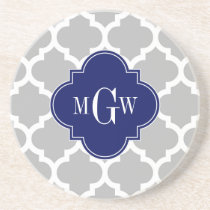 Gray White Moroccan #5 Navy 3 Initial Monogram Coaster