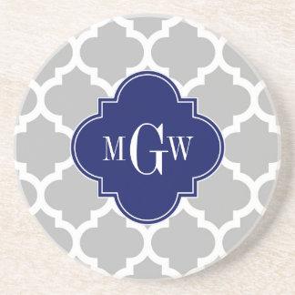 Gray White Moroccan #5 Navy 3 Initial Monogram Coaster
