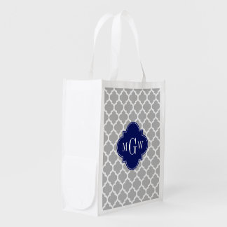 Gray White Moroccan #5 Navy 3 Initial Monogram Grocery Bag