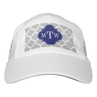 Gray White Moroccan #5 Navy 3 Initial Monogram Headsweats Hat