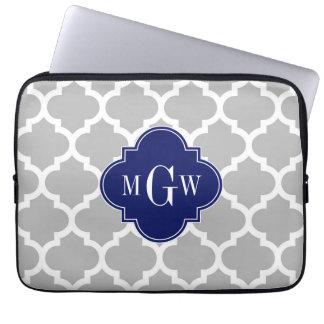 Gray White Moroccan #5 Navy 3 Initial Monogram Laptop Sleeves