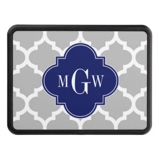 Gray White Moroccan #5 Navy 3 Initial Monogram Trailer Hitch Cover