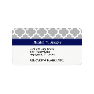 Gray White Moroccan #5 Navy Blue Name Monogram Address Label