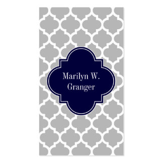 Gray White Moroccan #5 Navy Blue Name Monogram Business Card