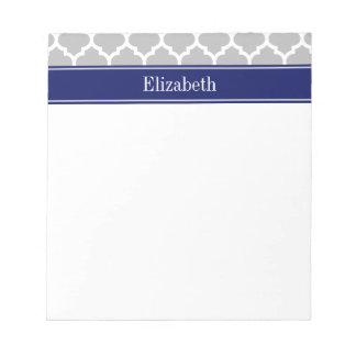 Gray White Moroccan #5 Navy Blue Name Monogram Notepad