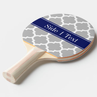Gray White Moroccan #5 Navy Blue Name Monogram Ping-Pong Paddle